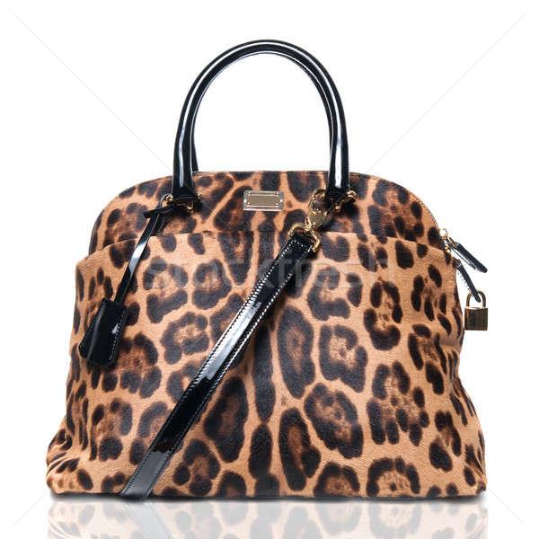 luxury leopard female bag isolated on white Stock photo © artjazz