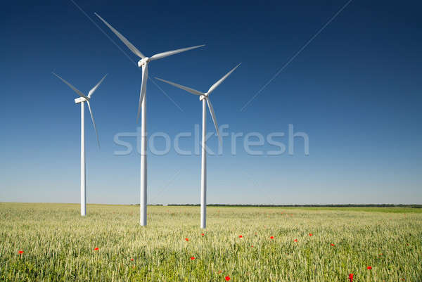Szél generátor turbina tavasz tájkép fa Stock fotó © artjazz