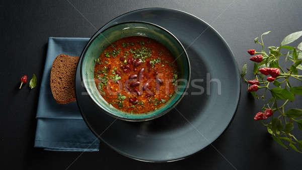 Zupa pomidorowa fasola seler słodkie pieprz Zdjęcia stock © artjazz