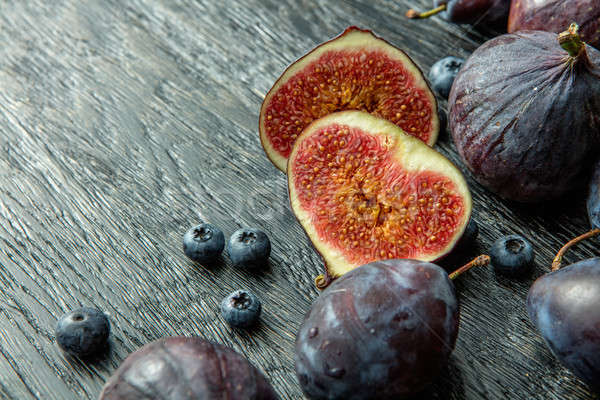 ripe berries and sliced figs Stock photo © artjazz