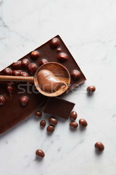 wooden spoon with chocolate Stock photo © artjazz