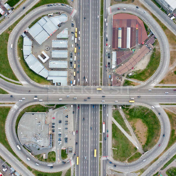 Aerial view of the road junction with cars, Poznyaki district Kiev, Ukraine. Stock photo © artjazz