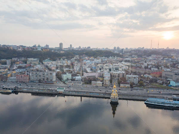 Ucrânia 15 igreja rio pôr do sol fotografia Foto stock © artjazz
