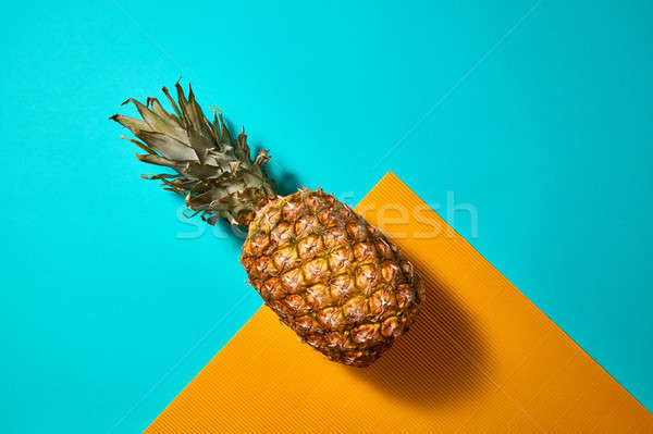 Tropische ananas vruchten Blauw oranje organisch Stockfoto © artjazz