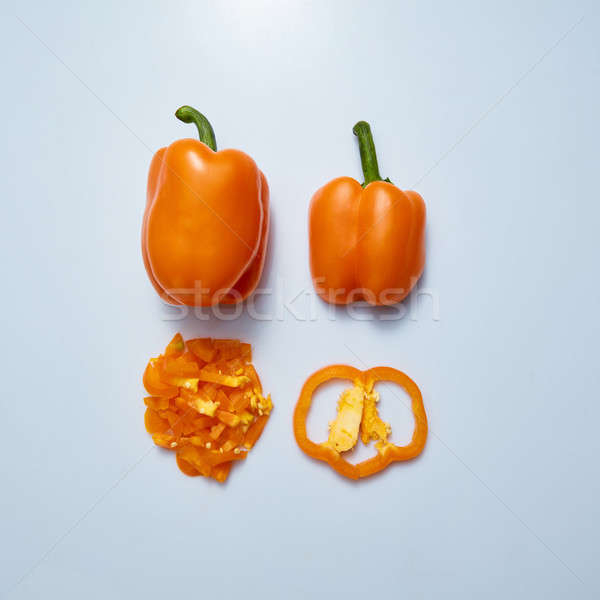 Set of sliced yellow bell pepper section pieces on gray background Stock photo © artjazz