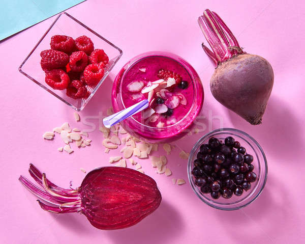 Healthy smoothies cooked from beets, raspberries, black currants Stock photo © artjazz