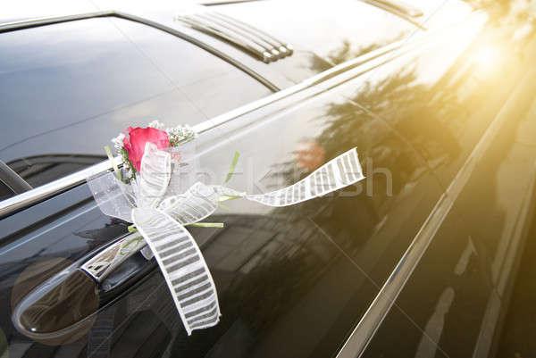 Foto stock: Porta · preto · casamento · carro · flor · fita