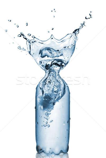 Foto stock: Plástico · botella · aislado · blanco · agua