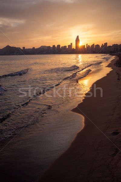 Stok fotoğraf: Altın · gün · batımı · plaj · İspanya · su · güzellik