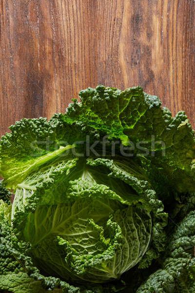 Green savoy cabbage Stock photo © artjazz