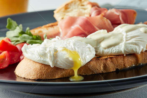Healthy Breakfast with Wholemeal Bread Toast and Poached Egg Stock photo © artjazz