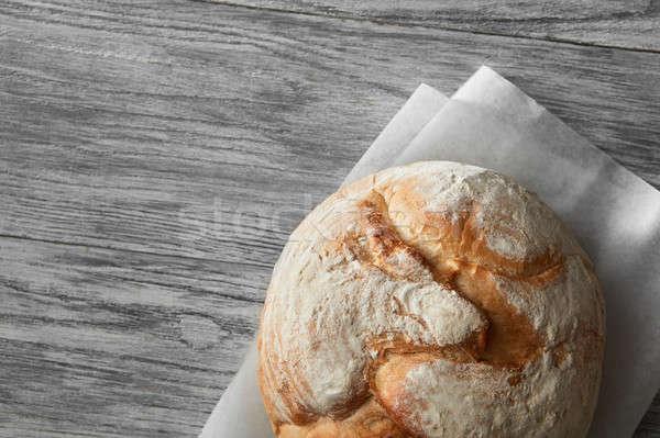 Eigengemaakt rogge brood witte houten top Stockfoto © artjazz