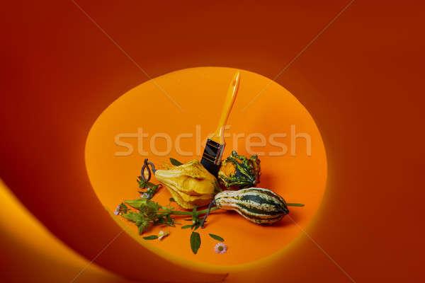 creative autumn composition with different decorative pumpkins Stock photo © artjazz