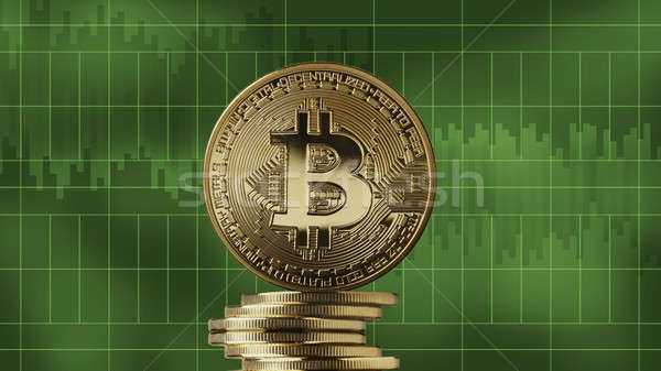 Stack of gold coins bitcoin on a green background Stock photo © artjazz