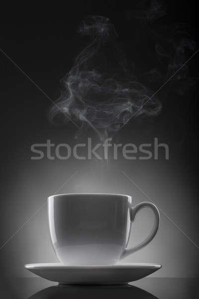 белый Кубок горячей жидкость пар черно белые Сток-фото © artjazz