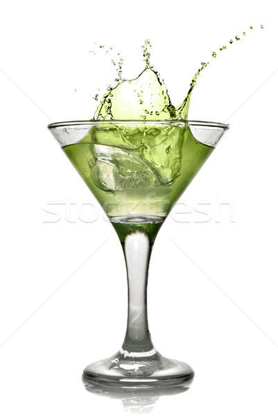 Green alcohol cocktail with splash isolated on white Stock photo © artjazz