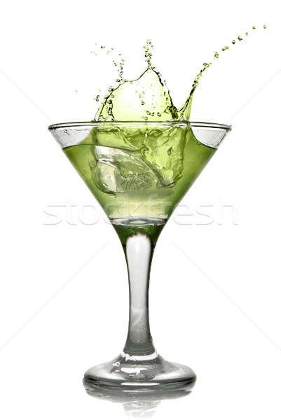Grünen Alkohol Cocktail splash isoliert weiß Stock foto © artjazz