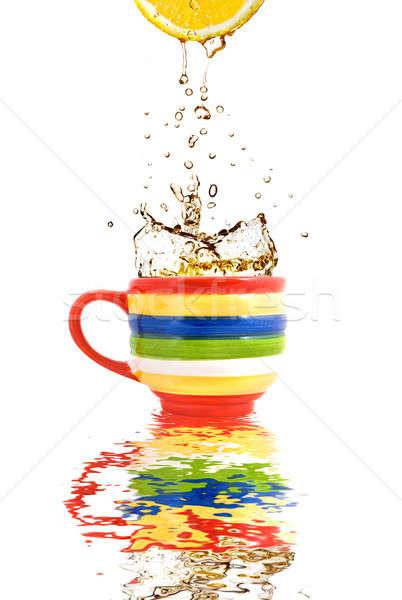 レモン ジュース スプラッシュ 茶 色 カップ ストックフォト © artjazz
