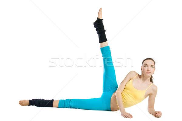 Foto stock: Beautiful · girl · ginástica · branco · mulher · esportes · corpo