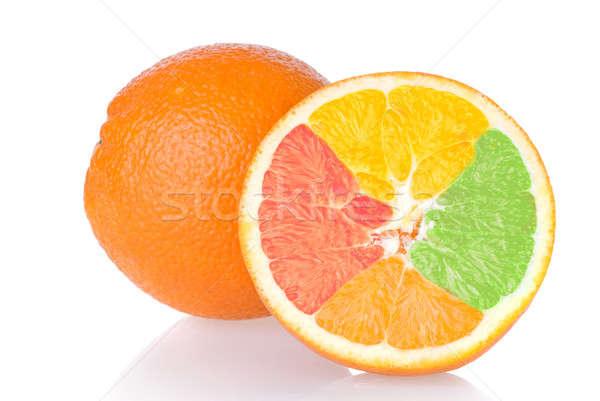 Stockfoto: Gemengd · oranje · geïsoleerd · witte · voedsel · zomer