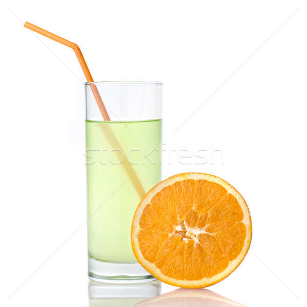 Stockfoto: Kalk · sap · oranje · geïsoleerd · witte · voedsel