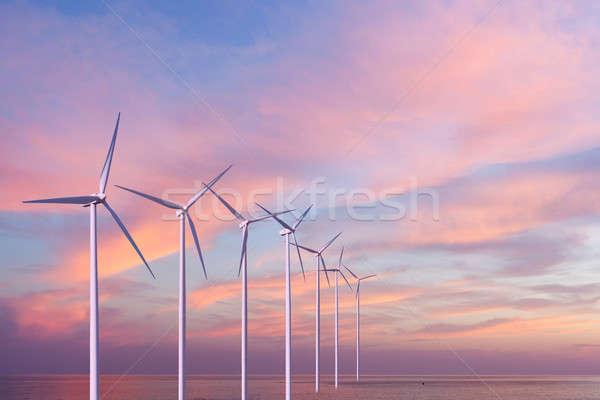Wind generators turbines in the sea on sunset Stock photo © artjazz