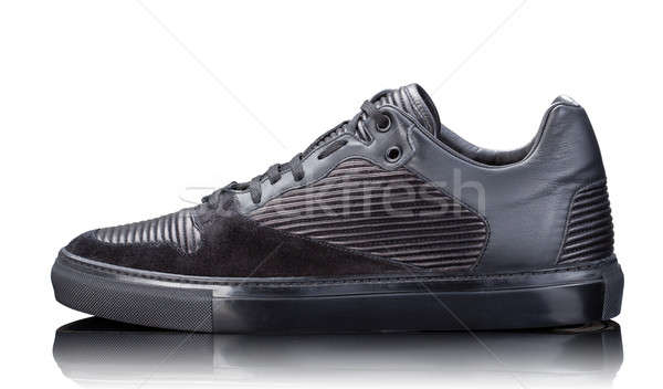 black male leather sneakers isolated on white Stock photo © artjazz