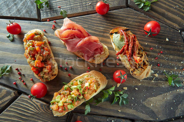 assorted Italian appetizer bruschetta Stock photo © artjazz