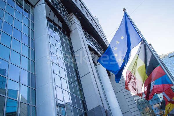 Zdjęcia stock: Flagi · europejski · parlament · Bruksela · Belgia · niebo