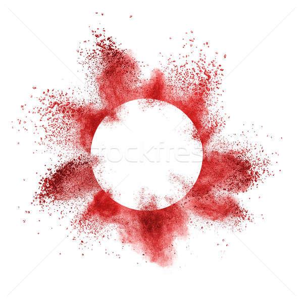 Rojo polvo explosión detrás marco blanco Foto stock © artjazz