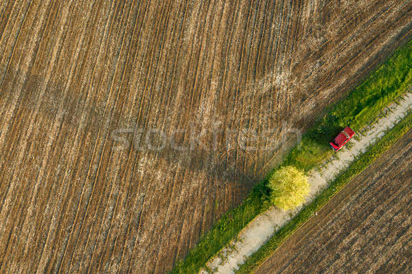 Aerial view from the drone, a bird's eye view of agricultural fields with a road through and red car Stock photo © artjazz