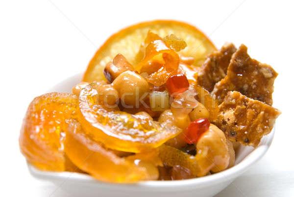 Karamell desszert izolált fehér étel absztrakt Stock fotó © artjazz