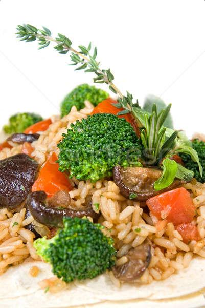 Macro risotto legumes restaurante tabela alimentação Foto stock © artjazz