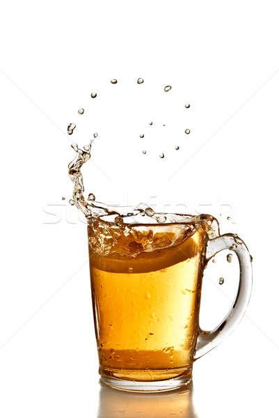 Burbujas té limón taza Splash alimentos Foto stock © artjazz