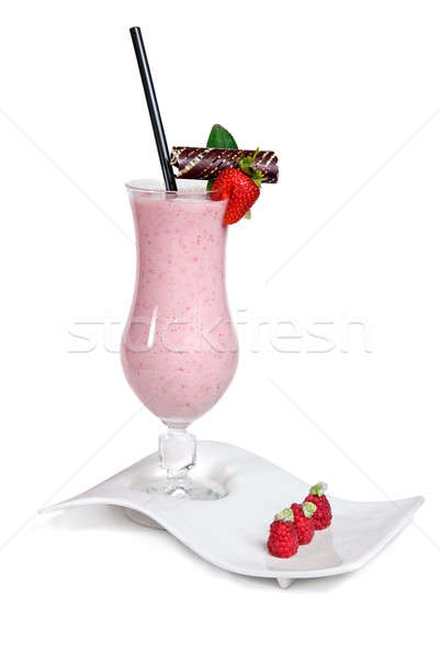 strawberry milkshake isolated on white Stock photo © artjazz