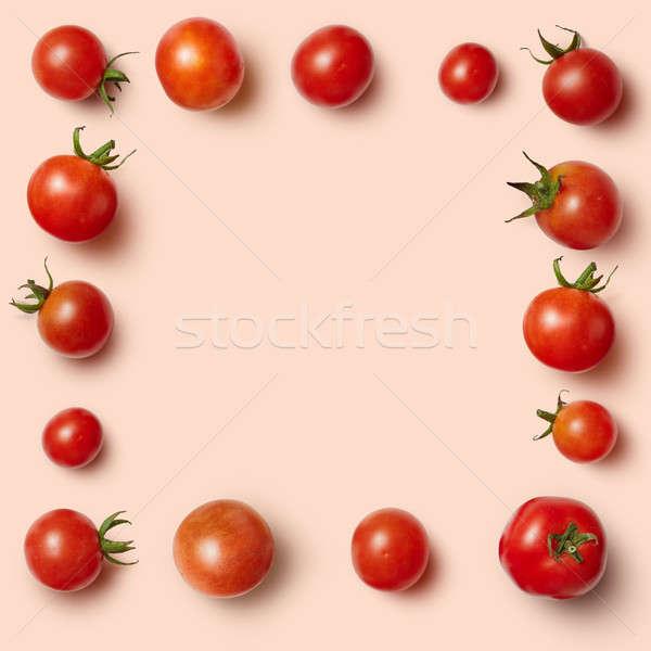 Dikdörtgen biçiminde çerçeve kiraz domates yalıtılmış pembe olağandışı Stok fotoğraf © artjazz