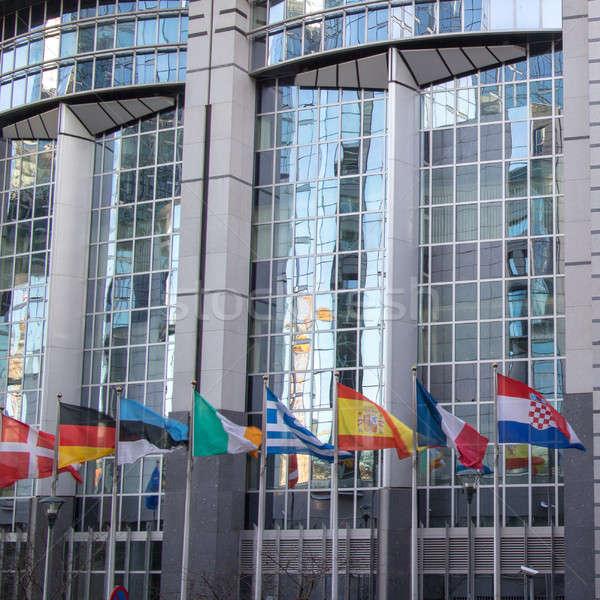 Europese parlement kantoren vlaggen fragment gebouwen Stockfoto © artjazz