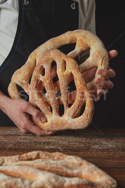 Padeiro pão mesa de madeira Foto stock © artjazz