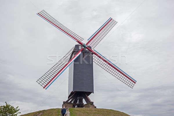Vento mill erba città natura panorama Foto d'archivio © artjazz