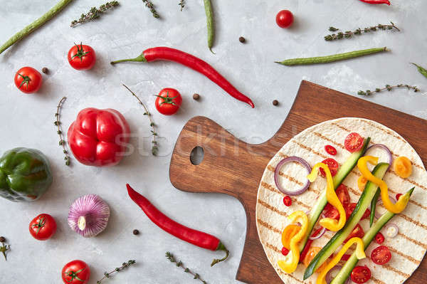 сырой овощей плоская маисовая лепешка следующий Сток-фото © artjazz