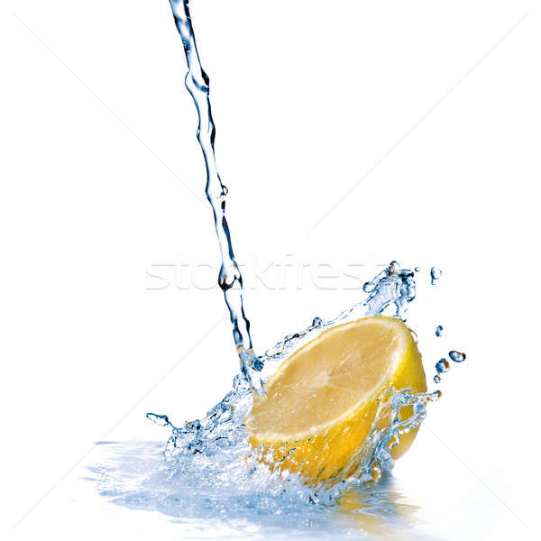 Foto stock: água · doce · gotas · limão · isolado · branco · comida