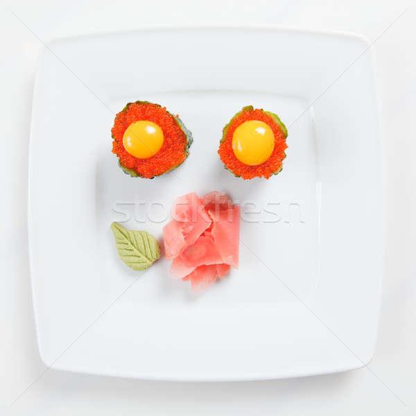 寿司 キャビア キュウリ プレート 孤立した 白 ストックフォト © artjazz