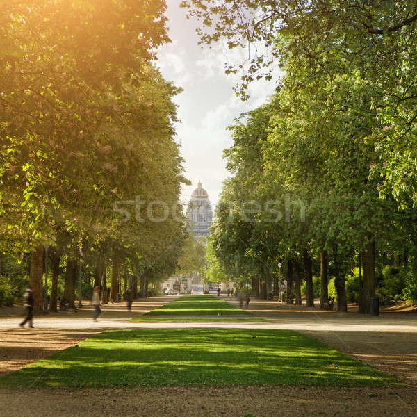 Real parque Bruxelas céu árvore nuvens Foto stock © artjazz