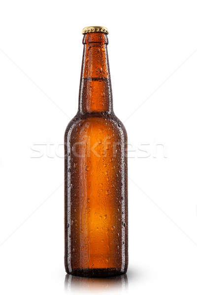Bierfles waterdruppels geïsoleerd witte water partij Stockfoto © artjazz
