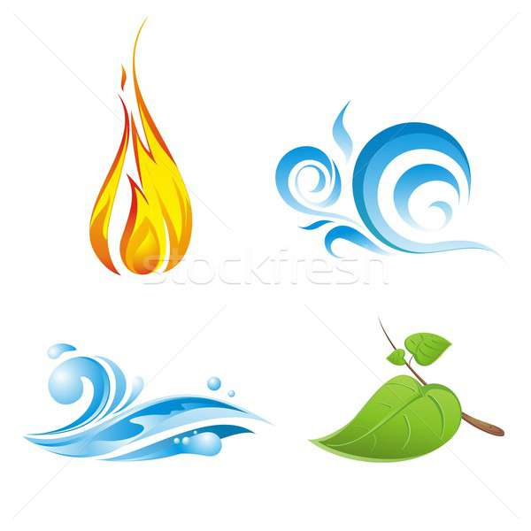 Four vector elements of nature isolated on white Stock photo © artjazz