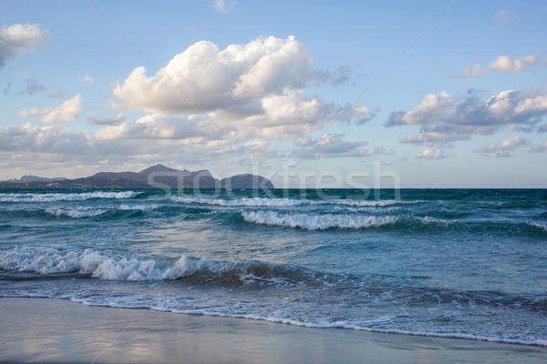 Strand majorca kan zonsondergang eilanden Spanje Stockfoto © artjazz