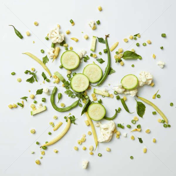 zhuchini, cauliflower and beans on white background Stock photo © artjazz