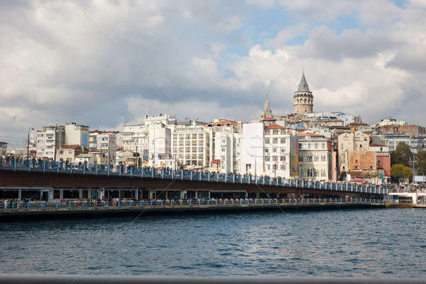 A view of the Galata Bridge and the Galata Tower Stock photo © artjazz