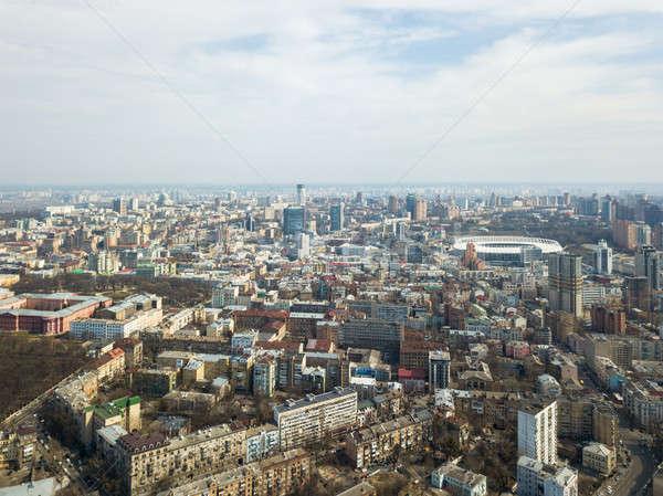 Panorámica vista ciudad moderna casas estadio Foto stock © artjazz
