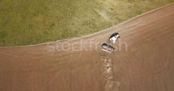 Légifelvétel traktor mezők föld vetés mező Stock fotó © artjazz